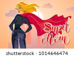 super mom figure sign and... | Shutterstock .eps vector #1014646474