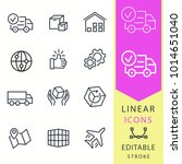 logistics  vector icons set.... | Shutterstock .eps vector #1014651040