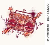 funky colorful drawn boom box | Shutterstock .eps vector #1014653200