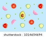 creative layout made of green... | Shutterstock . vector #1014654694