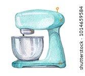 hand drawn watercolor mint... | Shutterstock . vector #1014659584