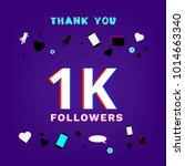 1k followers thank you banner... | Shutterstock .eps vector #1014663340