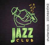jazz club music neon light... | Shutterstock .eps vector #1014664543