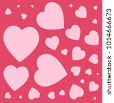 love hearts pattern on pink...   Shutterstock .eps vector #1014666673
