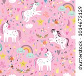 seamless pattern with unicorns.  | Shutterstock .eps vector #1014673129