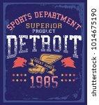 detroit  athletic   tee design... | Shutterstock .eps vector #1014675190