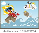 sailing fun with funny animals... | Shutterstock .eps vector #1014677254