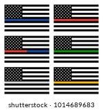 vector american thin line flag... | Shutterstock .eps vector #1014689683