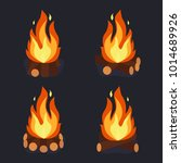 bonfire and burning woodpile ... | Shutterstock .eps vector #1014689926