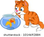 cartoon little cat playing with ... | Shutterstock .eps vector #1014692884