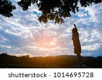 silhouette image of happy boy... | Shutterstock . vector #1014695728