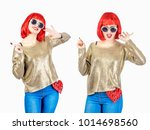 carefree girl in a red wig and...   Shutterstock . vector #1014698560