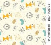 mid century modern seamless... | Shutterstock .eps vector #1014700738