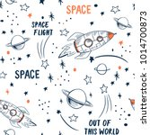 hand drawn space elements... | Shutterstock .eps vector #1014700873