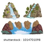 waterfalls set. cartoon... | Shutterstock .eps vector #1014701098