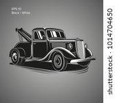 old vintage tow truck vector... | Shutterstock .eps vector #1014704650