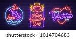 set neon logo  label  emblem.... | Shutterstock .eps vector #1014704683