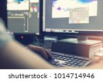 post production   man doing... | Shutterstock . vector #1014714946
