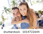 portrait of happy couple on...   Shutterstock . vector #1014722644