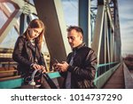 father and daughter wearing... | Shutterstock . vector #1014737290
