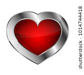 chrome or silver heart icon....   Shutterstock .eps vector #1014744418