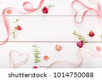 two ribbon magic pink hearts on ... | Shutterstock . vector #1014750088