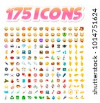 set of 175 realistic cute icons ... | Shutterstock .eps vector #1014751624