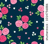 simple floral seamless pattern... | Shutterstock .eps vector #1014756886