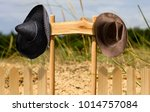 two cowboy hats and a mexican... | Shutterstock . vector #1014757084