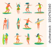 people surfing and swimming on... | Shutterstock .eps vector #1014763360