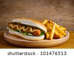 Hot Dog With French Fries Fast...