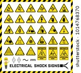 set of safety caution signs and ... | Shutterstock .eps vector #1014768370