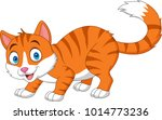 Cartoon Funny Cat Isolated On...