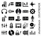 audio icons. set of 25 editable ... | Shutterstock .eps vector #1014782428