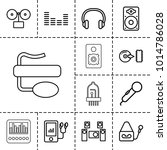 audio icons. set of 13 editable ... | Shutterstock .eps vector #1014786028