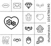 romance icons. set of 13... | Shutterstock .eps vector #1014786190