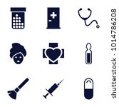 treatment icons. set of 9... | Shutterstock .eps vector #1014786208