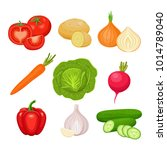 set of fresh vegetables ... | Shutterstock .eps vector #1014789040