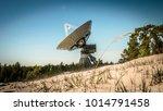 a huge soviet radio telescope... | Shutterstock . vector #1014791458
