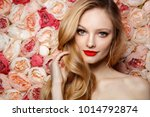 young fresh fashion model with... | Shutterstock . vector #1014792874