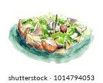 watercolor hand drawn sketch... | Shutterstock . vector #1014794053
