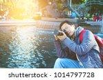 asian male tourist taking... | Shutterstock . vector #1014797728