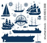 set of fully rigged sailing... | Shutterstock .eps vector #1014801388