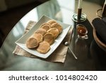 pancakes on white plate with... | Shutterstock . vector #1014802420