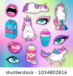 modern cute patch set wih... | Shutterstock .eps vector #1014802816
