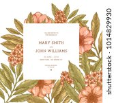 retro floral wedding invitation.... | Shutterstock .eps vector #1014829930