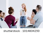 audience clapping hands after... | Shutterstock . vector #1014834250