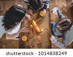 mother with two daughters...   Shutterstock . vector #1014838249