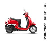 Red Scooter Isolated On White...