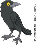 Cartoon Crow Isolated On White...